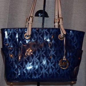 """Michael"" Michael Kors Blue Metallic Jet Set"